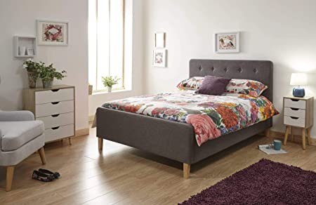 4FT6 /& 5FT NEW Modern Light Grey Linen Fabric Bed Storage or Non Storage in 3FT