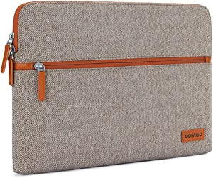 "DOMISO 13.3 Inch Laptop Sleeve Canvas Case Tablet Cover Bag for 13-13.3 Inch Laptops / 13"" MacBook Pro Retina/Dell Inspiron 13 XPS 13 / Lenovo Yoga 720 13.3"" / HP/ASUS/Acer/MSI, Brown"