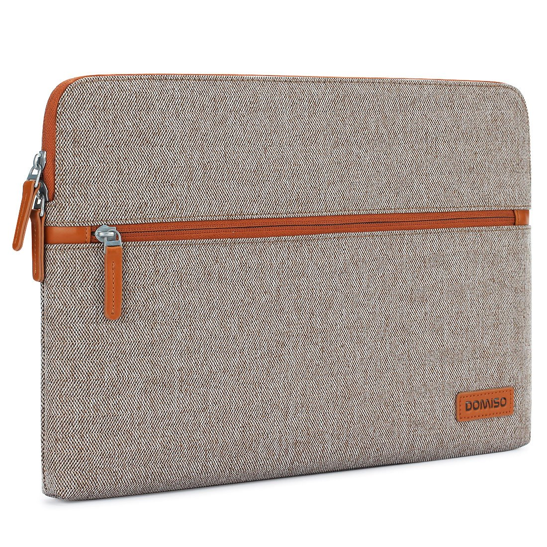 DOMISO 13.3 Inch Laptop Sleeve Canvas Case Tablet Cover Bag for 13-13.3 Inch Laptops/13'' MacBook Pro Retina/Dell Inspiron 13 XPS 13/Lenovo YOGA 720 13.3''/HP/ASUS/Acer/MSI, Brown