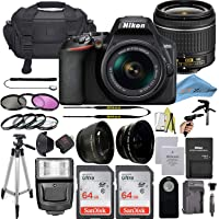 Nikon D3500 DSLR Camera with 24.2 MP Sensor, NIKKOR 18-55mm f/3.5-5.6G VR Lens, 2 Pack Sandisk 64GB Memory Card, Bag, Flash Light,…
