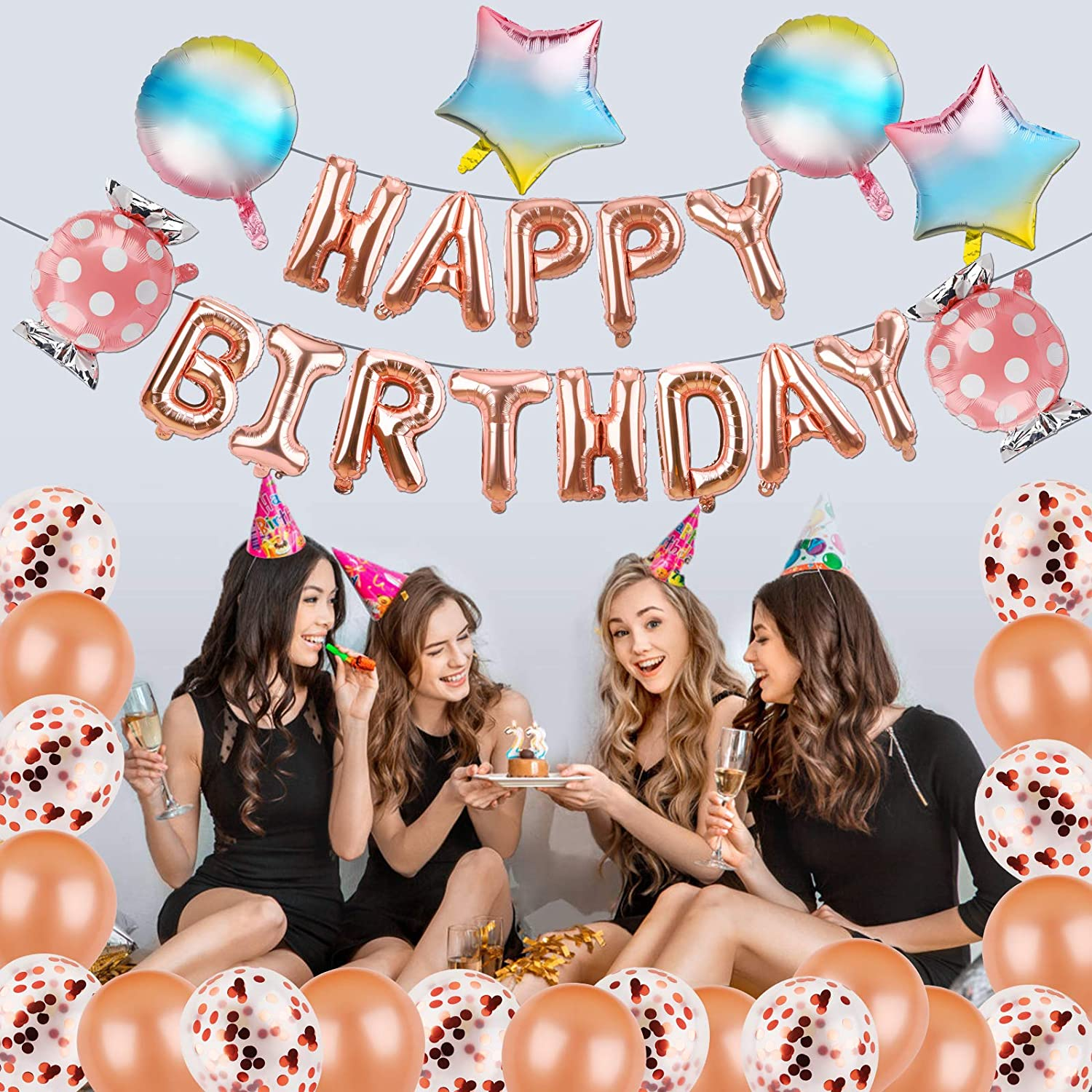 Rose Gold Birthday Party Decorations Supplies PAJAMA PARTY Rose Gold Ladies Night Out Rainbow Party Decorations Candy Star Foil Confetti Balloons for 14th 16th All Ages Birthday Girls Women Her PHXEY