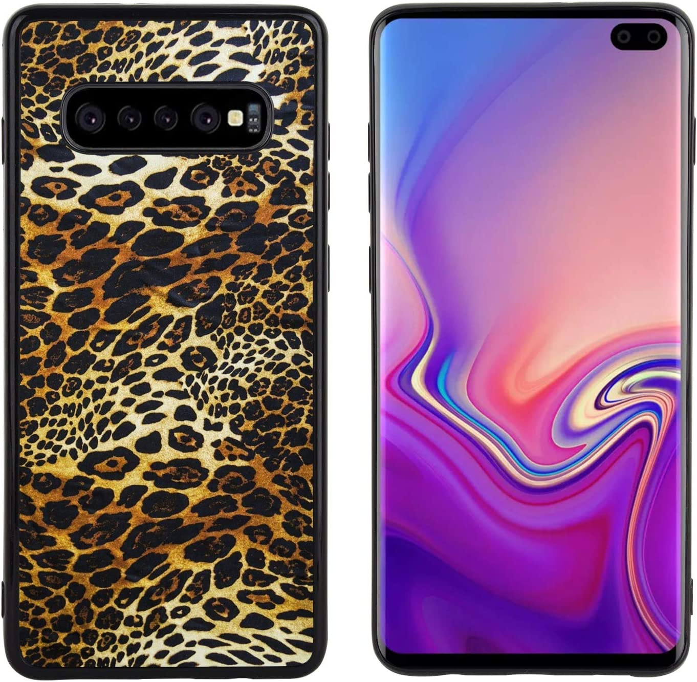 Samsung Galaxy S10 Leopard Print Wallpaper Phone Case Black Back Side Soft Tpu Protective Cover Amazon Co Uk Electronics