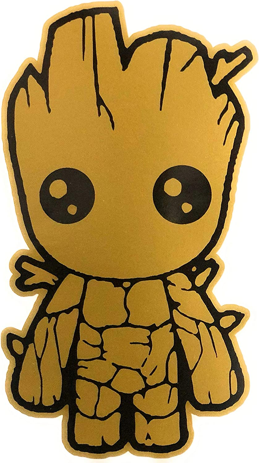 Baby Groot Gold Color Vinyl Sticker Decal - 5.5 inches - for Car Truck SUV Van Window Bumper Wall Laptop MacBook Tablet Cup Tumbler Skateboard and Any Smooth Surface