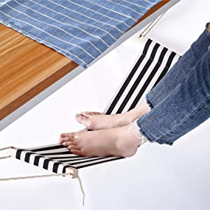 Office Foot Hammock Under Desk, Adjustable Desk Foot Rest Stand Replace Footstools for Home, Office Study and Relaxing, 1pc/Box (Black and White Stripes)