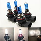 Combo 9006-HB4 55W 9005-HB3 65W White 5000K Xenon Halogen Headlight Bulb High/Low Beam Replace HID Hi/Lo Head Lamp Light