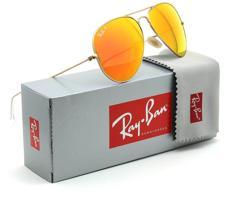 2923670f7a Amazon.com  Ray-Ban RB3025 Aviator Flash Leneses Polarized Sunglasses  112 4D - 58mm  Clothing