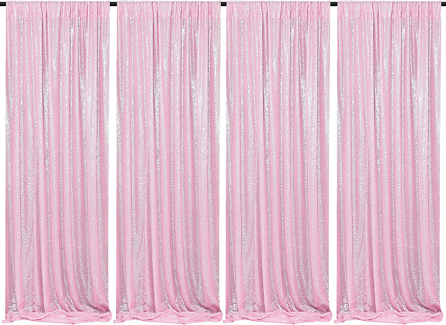 Pink Sequin Curtains 4 Panels 2FTx8FT Sequin Photo Backdrop Wedding Glitter Fabric Backdrops Party Background Photography Drapes