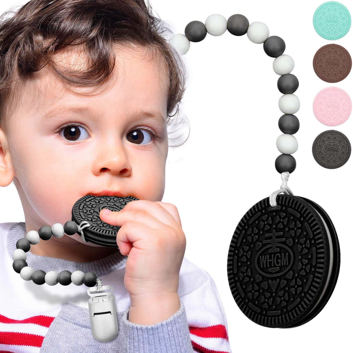 Baby Teether Teething Cookie Toys Silicone Teething Biscuit for with Teething Pacifier Clip Holder and Carry Box, Food-Grade Silicone BPA-Free Infant Toy for 0-24 Months Baby Boys & Girl (Black)