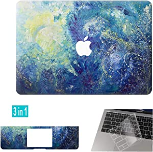 DowBier Hard Shell Case & Keyboard Cover & Sticker Bundle Compatible with Apple MacBook ( Pro 13 Inch A1989 A1706 A1708, Night Sky)