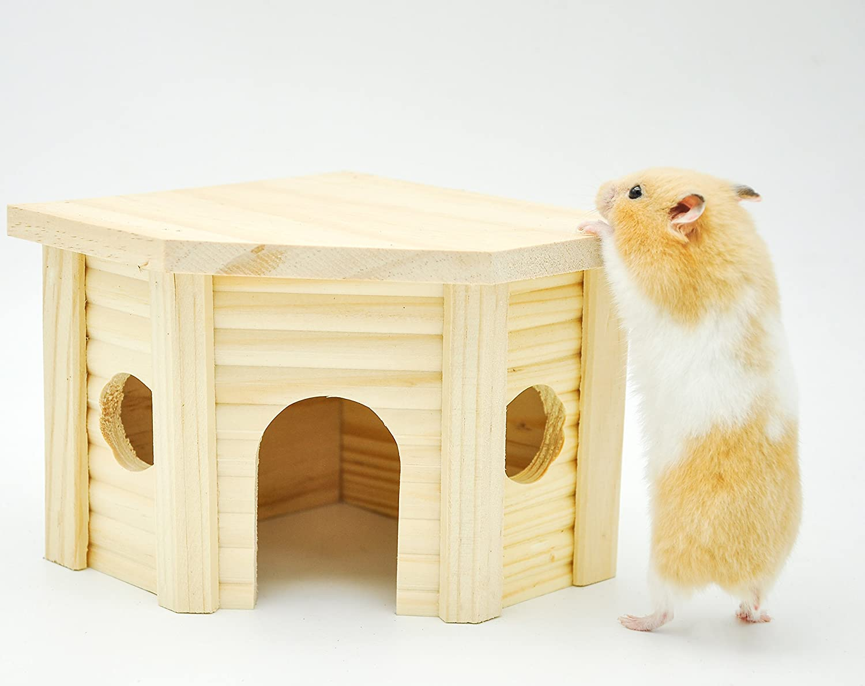 Niteangel Wooden Hamster House, Small Animal Nesting Habitat