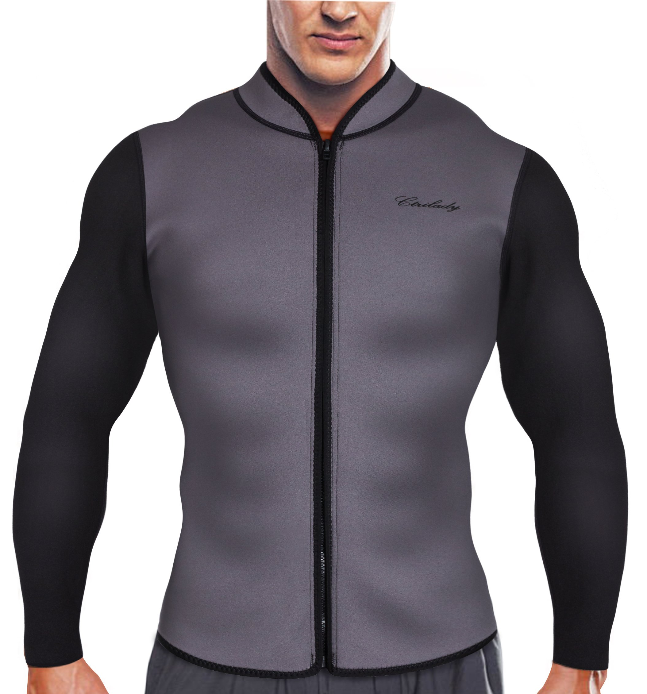 CtriLady Men s Best Neoprene Wetsuit Jacket Front Zipper Long Sleeves  Workout Tank Top for Swimming Snorkeling Surfing 2348f026b
