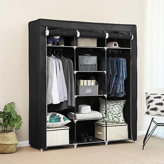SONGMICS Armario Closet Organizador Textil Plegable Color Negro ...