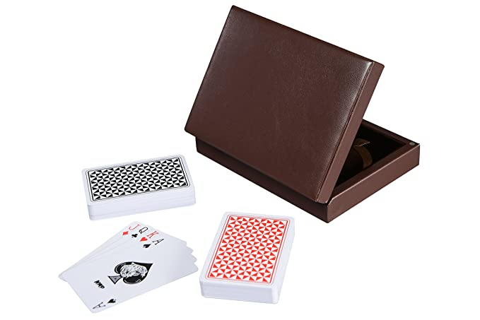 Cerasus Exclusive Playing-Card Box with Leatherette Finish (Brown PU)