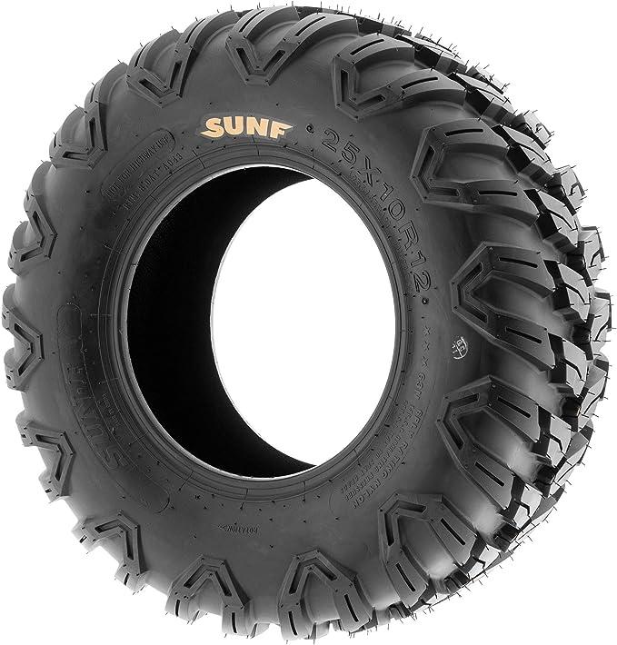 SunF 25x8R12 25x8x12 ATV UTV A//T Radial Race Replacement 6 PR Tubeless Tires A043, Set of 2