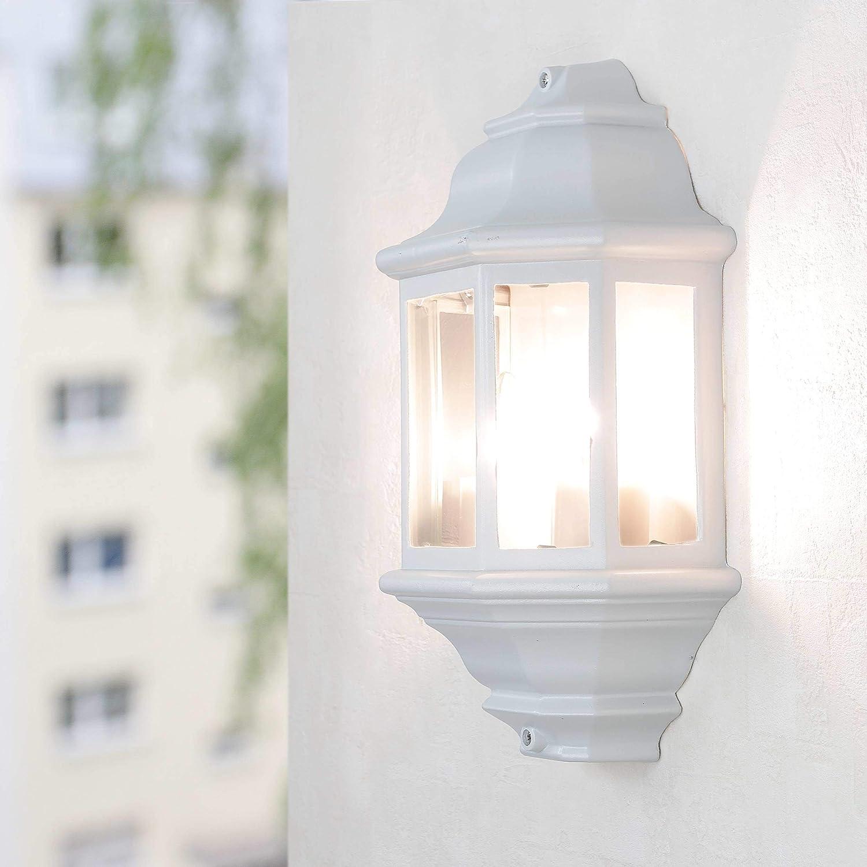 Rustikale Wandleuchte in schwarz 230V Wandlampe aus Aluminium & Glas fü r Garten/Terrasse Garten Weg Terrasse Lampe Leuchten auß en Licht-Erlebnisse CX120202