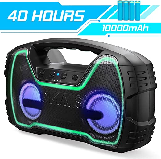 Amazon.com: Portable Bluetooth Speaker, True Wireless Stereo Pairing 2 Speakers for a Powerful 60W Bass Sound, 100Ft Bluetooth Range, 40 Hrs Playtime, IPX7 Waterproof Speaker, Built-in Mic, Indoor, Outdoor Party: Home Audio & Theater