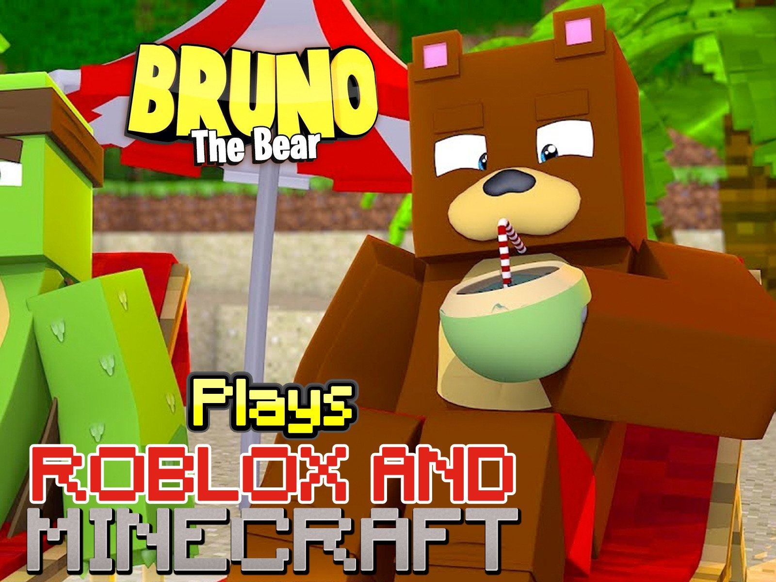 Amazoncom Watch Clip Bruno The Bear Plays Roblox And Minecraft