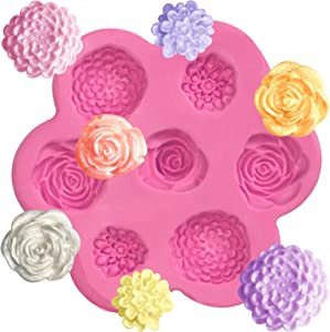 Mini Flowers Fondant Silicone Mold for Sugarcraft Cake Decoration, Cupcake Topper, Polymer Clay, Soap Wax Making Crafting Projects 7-Cavity