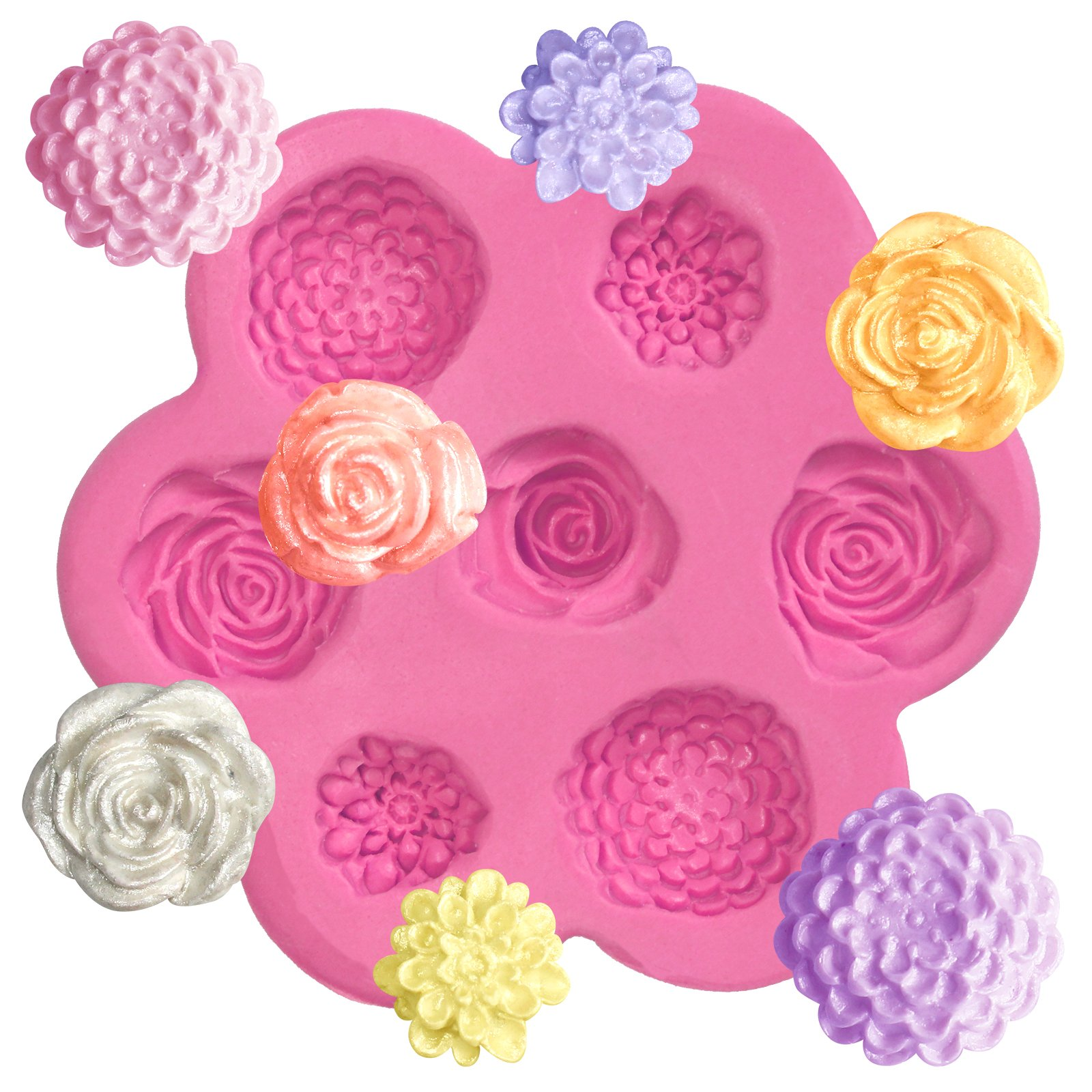BBTO 27 Cavity Flower Fondant Mold Roses Silicone Mold Daisy Mold for Cake Decoration Soap Wax Making Crafting Projects Cupcake Topper Polymer Clay