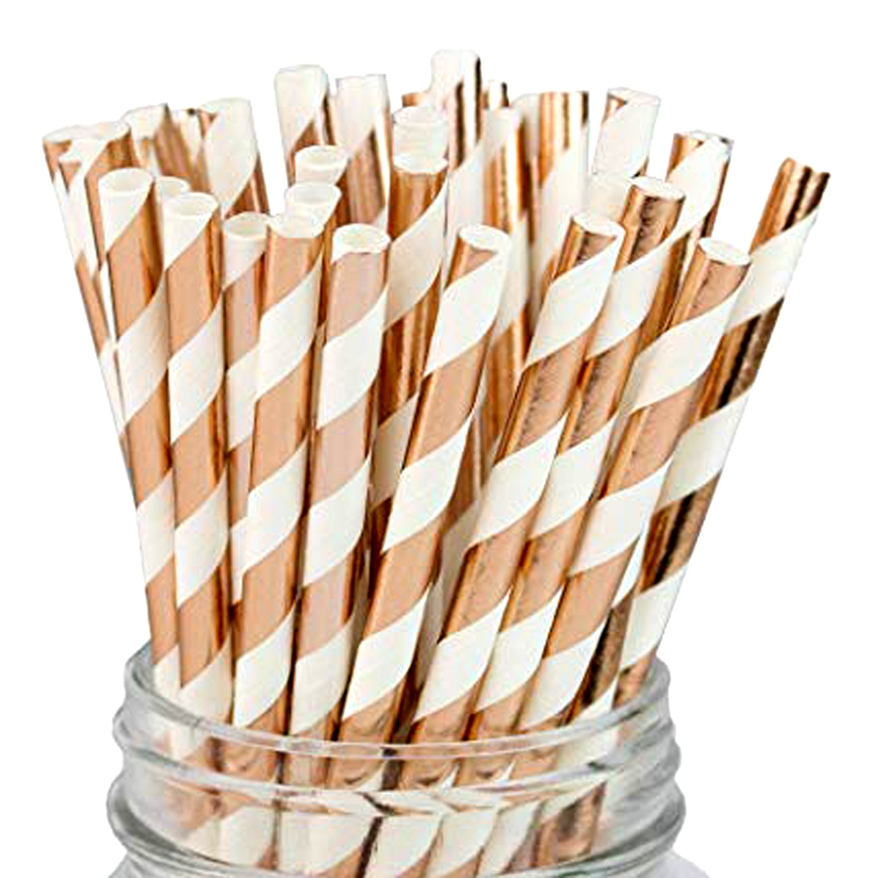 Rose Gold Striped Paper Straws, Disposable Straws for Adult and Kids Party Decorations and Celebrations, Baby Shower, wedding 100 Pcs 7.75 Inches