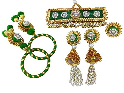 8508b80a5 BLENT#63 Beautiful Green Gota Patti Flower Jewellery Set for  Women/Kids/Girls