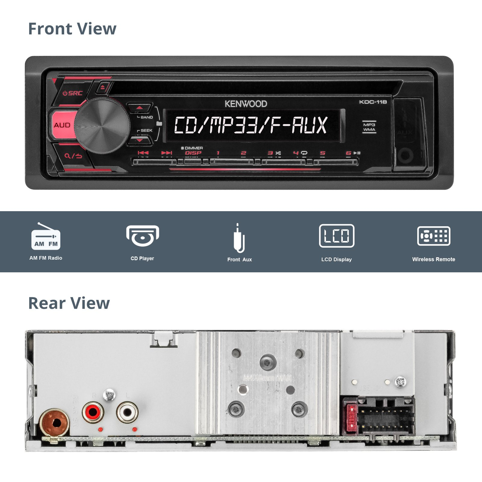 Kenwood KDC118 Car CD Player Receiver AUX Radio - Bundle Combo With 2x JVC 6x9'' 3-Way Vehicle Coaxial Speakers + 2x 6.5'' Inch 2-Way Audio Speakers + 4-Channel Amplifier + Amp Kit by EnrockAudioBundle (Image #2)