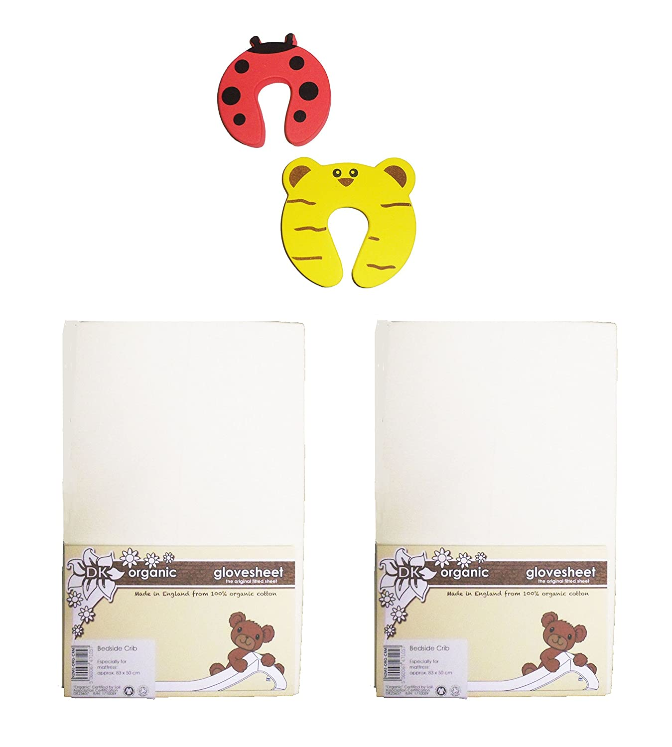 DK Glovesheets GOTS Certified 100% Organic Cotton Cream Two Fitted 83 x 50cm Crib Sheets - Specifically Designed To Fit The Next To Me Mattress - Plus 2 Pack Of Safety Doorstoppers
