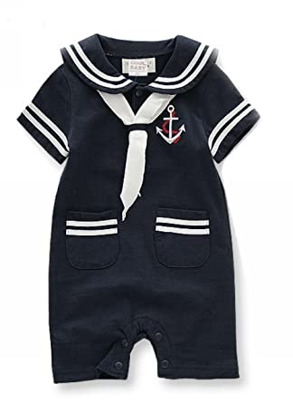 30bdb781f44b Baby Boy Girl Sailor One Piece Romper Suit Grow Outfit Summer Marine ...
