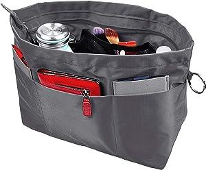 Vercord Purse Organizer Insert Bag Tote Handbags Pocketbook Inserts Organizers Zipper 11 Pockets Grey Large