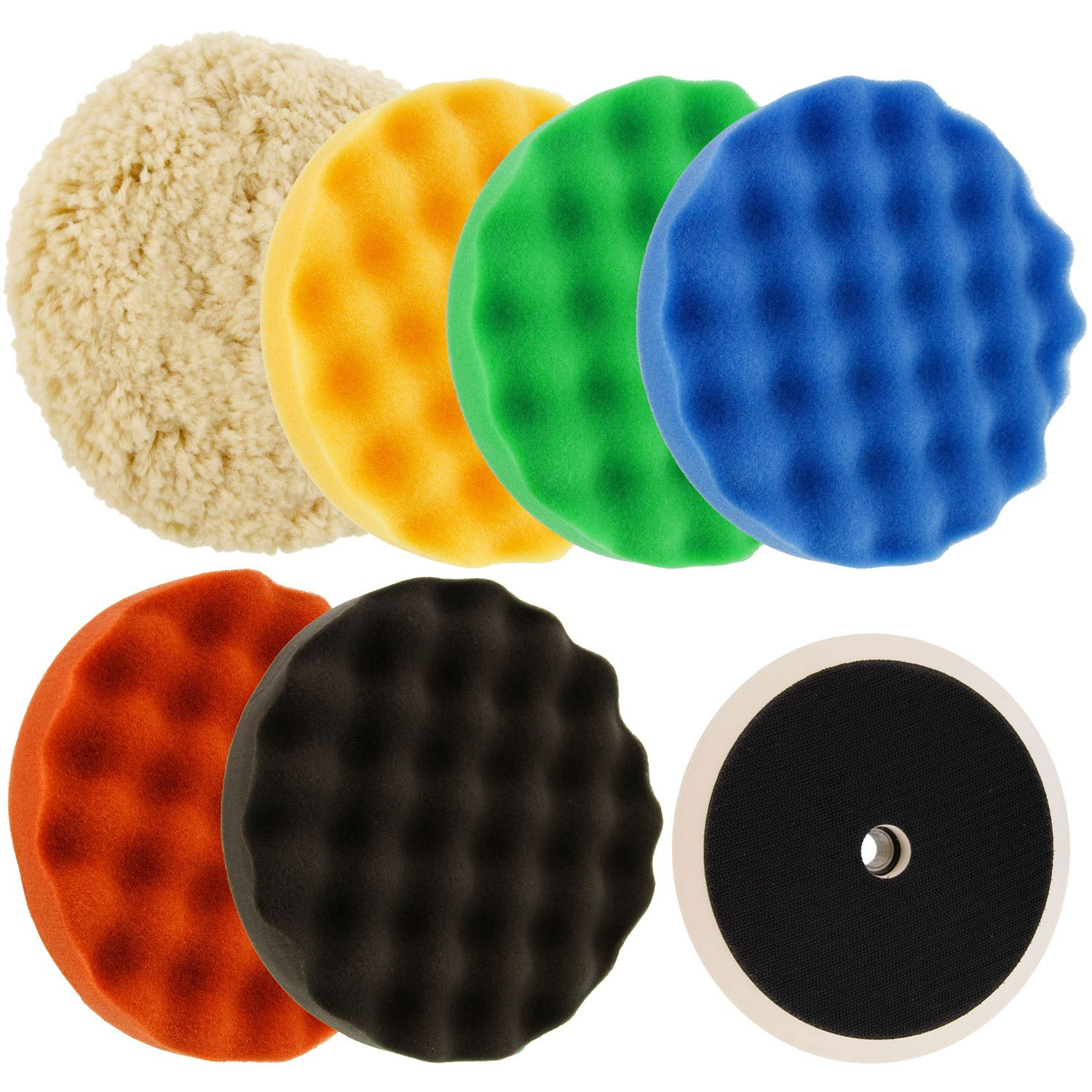 TCP Global Ultimate 6 Pad Buffing and Polishing Kit with 6-8'' Pads; 5 Waffle Foam & 1 Wool Grip Pads and a 5/8'' Threaded Polisher Grip Backing Plate by TCP Global
