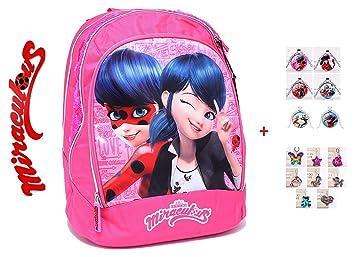 Mochila Escolar Miraculous Ladybug Redonda Rosa + Llavero + ...