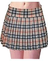 Schoolgirl Tartan Plaid Pleated Mini Skirt Tan Mocha Stretch Plus
