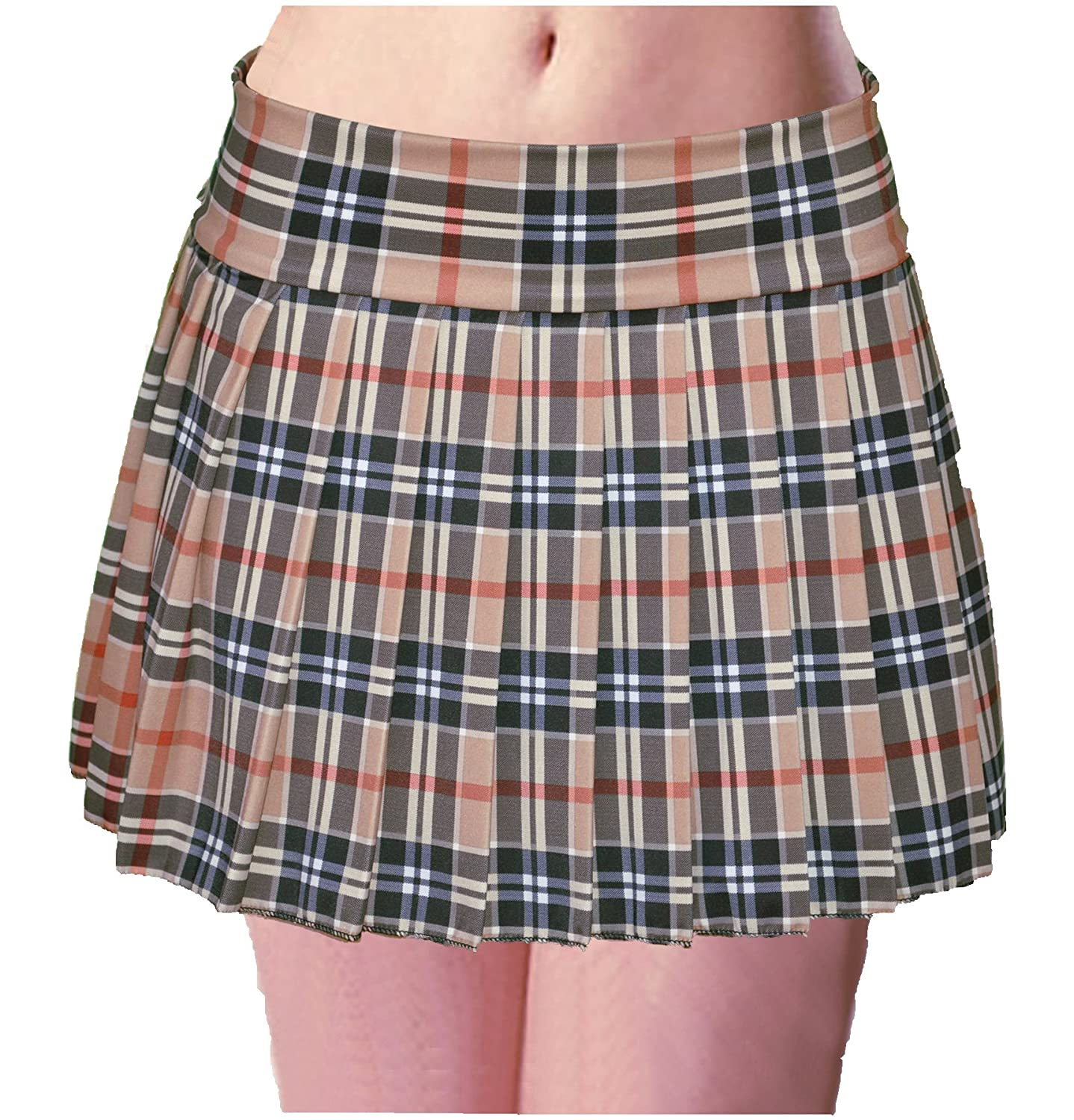 Schoolgirl Tartan Plaid Pleated Mini Skirt Tan Mocha Stretch Plus