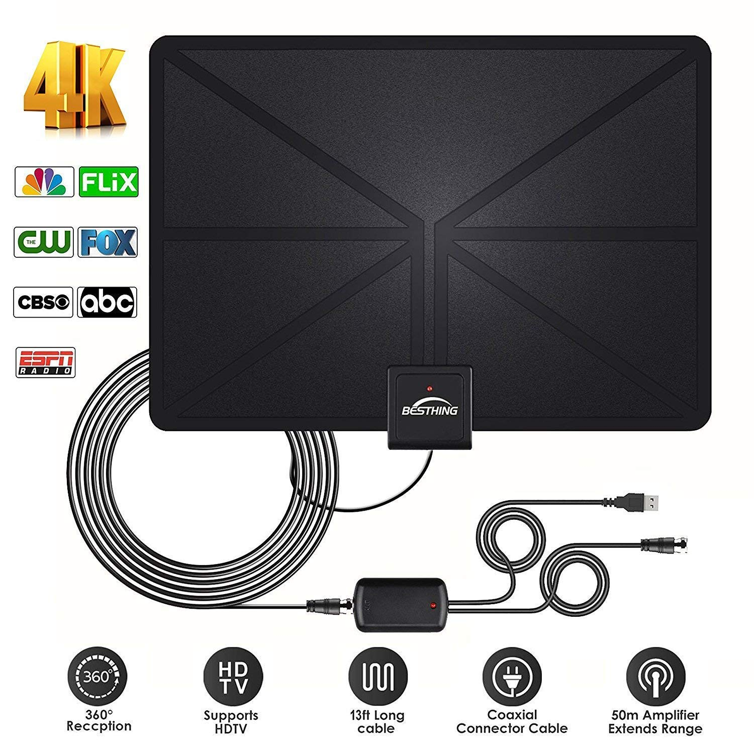 HD Digital TV Antenna - Best Amplified HDTV Antenna 60 Mile Range Support 4K 1080p, VHF UHF Freeview Channels With Detachable Amplifier, Power Adapter and 13.2ft Longer Coax Cable