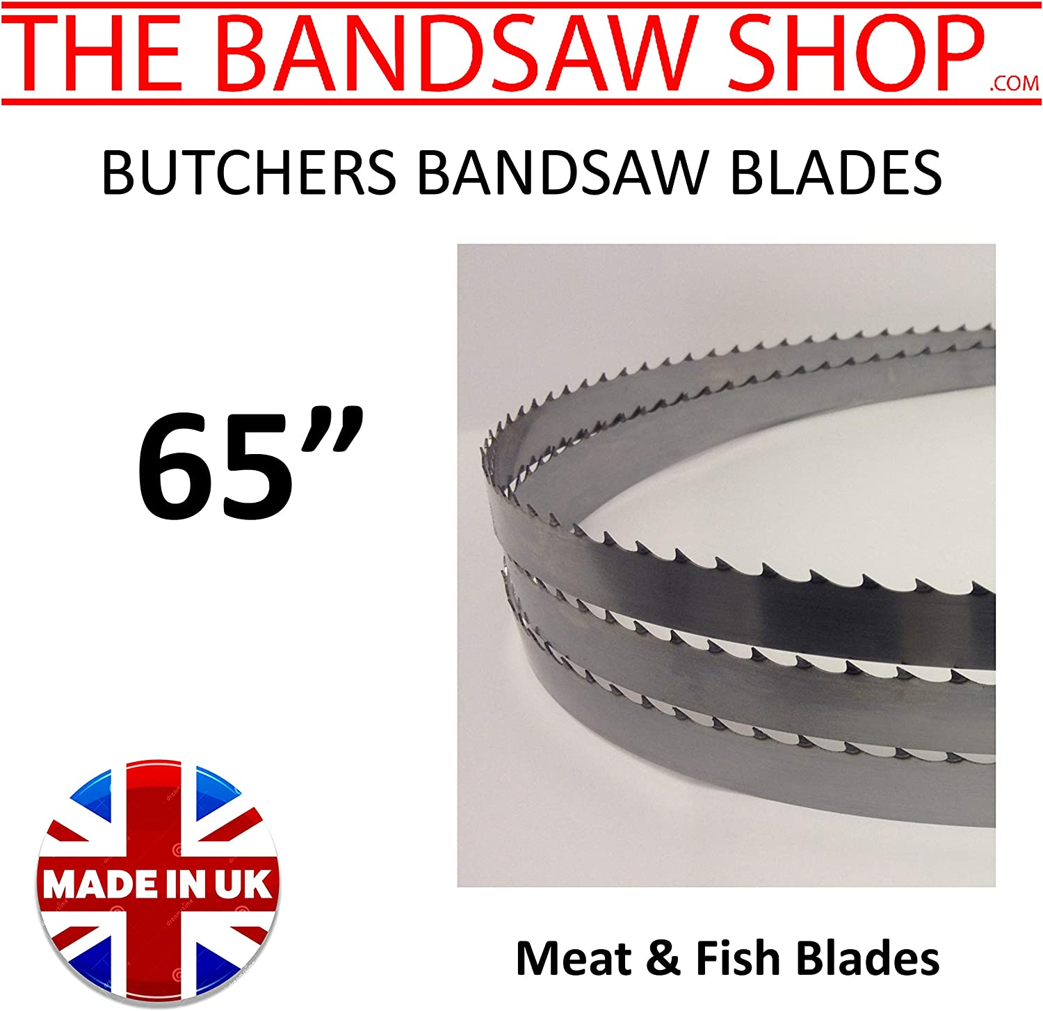 x 5//8 1651mm 10 Pack Butchers BANDSAW Blades 4 TPI for Cutting Meat /& Fish 1651mm 65 65