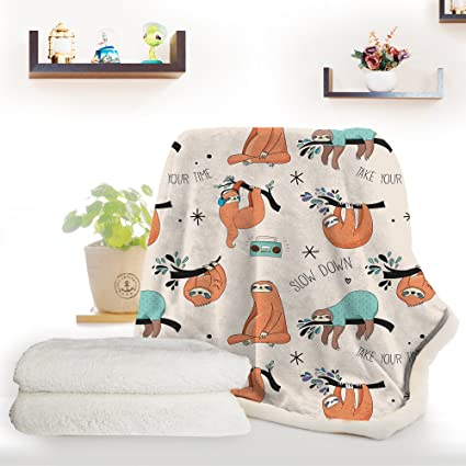 ARIGHTEX Sloth Bed Sofa Soft Throw Blanket Orange Sloths Hanging from Trees Cute Woodland Animal Sherpa Fleece Blanket (60 x 80 Inches)