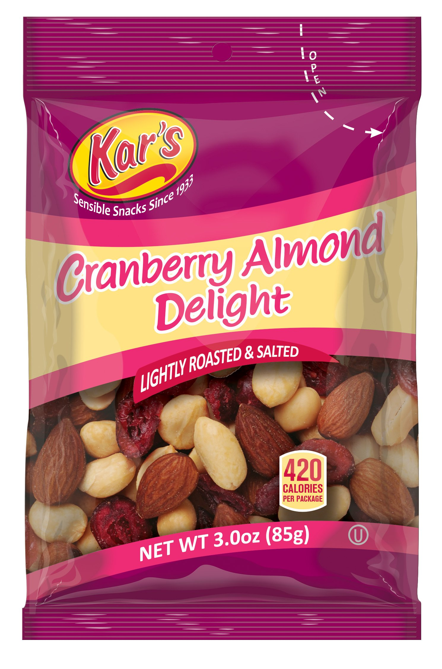 Kar's Cranberry Almond Delight Trail Mix 3 oz Bags - Lightly Salted Blend of Peanuts, Almonds & Sweet-Tart Cranberries (Pack of 42)