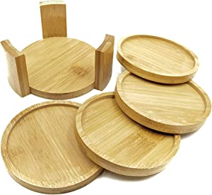 Coaster Set with Holder | Bamboo Wood | Includes 4 Round Coasters and one Holder | Use for Drinks, Beverages, Beer, Coffee! | Barware Kitchen | Housewarming (Bamboo, Brown, Wood)