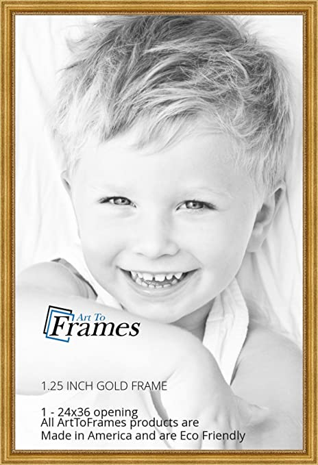 amazoncom arttoframes 24x36 inch gold foil on pine wood picture frame wom0066 81375 ygld 24x36
