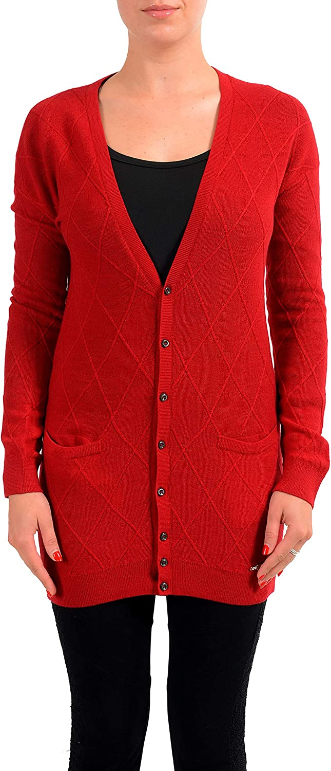 DSQUARED2 Women's 100% Wool Red Cardigan Sweater US S IT 40