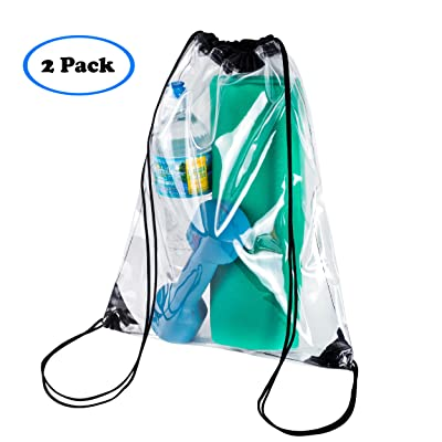 2 PACK Clear Drawstring Bag For School d92f891774711