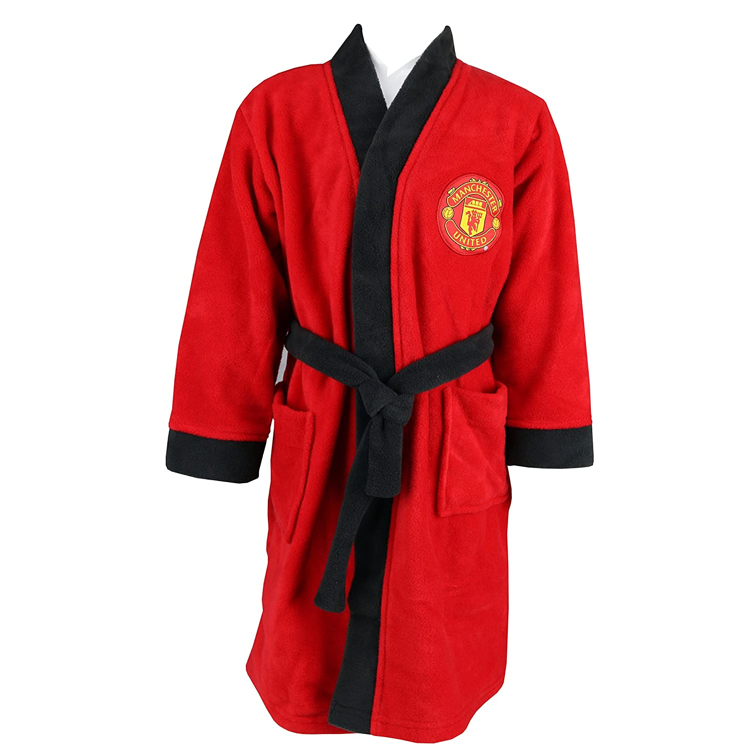 Boy's Manchester United MUFC Man Utd Toddler Fleece Dressing Gown Bathrobe sizes 1½ to 5 Years