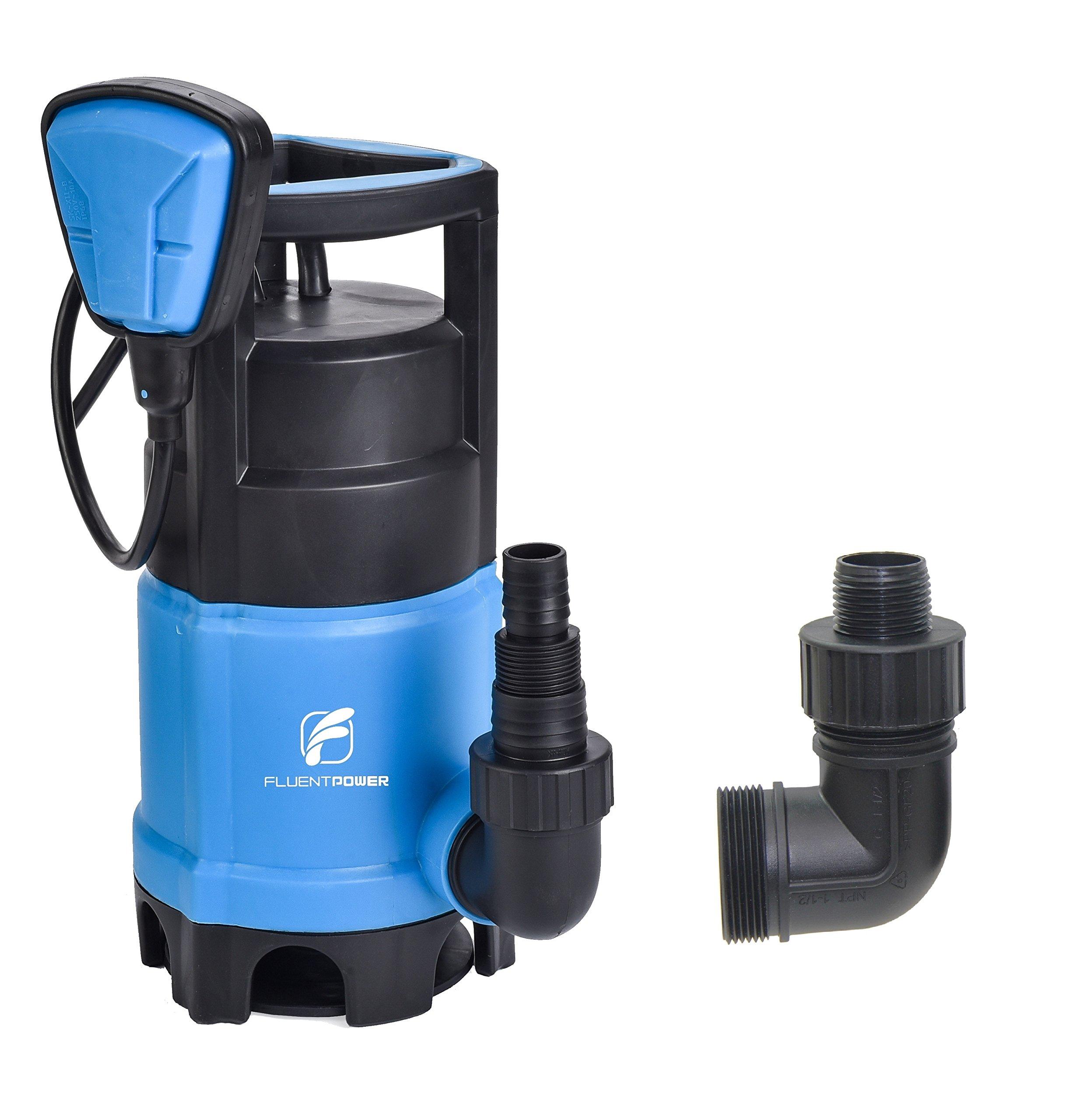 FLUENT POWER Sump Pump - 110V/60Hz 3/4HP 3300 GPH Clean / Dirty Submersible Pump for Pool and Flood drain