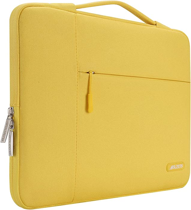 MOSISO Laptop Sleeve Compatible with 13-13.3 inch MacBook Air, MacBook Pro, Notebook Computer, Polyester Multifunctional Briefcase Carrying Bag, Yellow