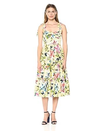 a5b7d54da6 Eliza J Women s Floral Print Midi Dress with Bow Detail at Amazon ...