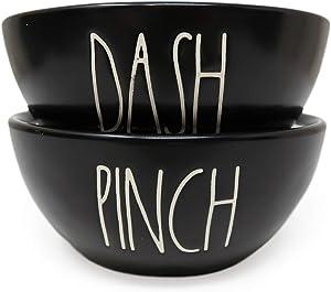 Rae Dunn By Magenta 2 Piece PINCH DASH Black Ceramic LL Seasoning Spice Salt Pepper Mini Bowls Set With White Letters