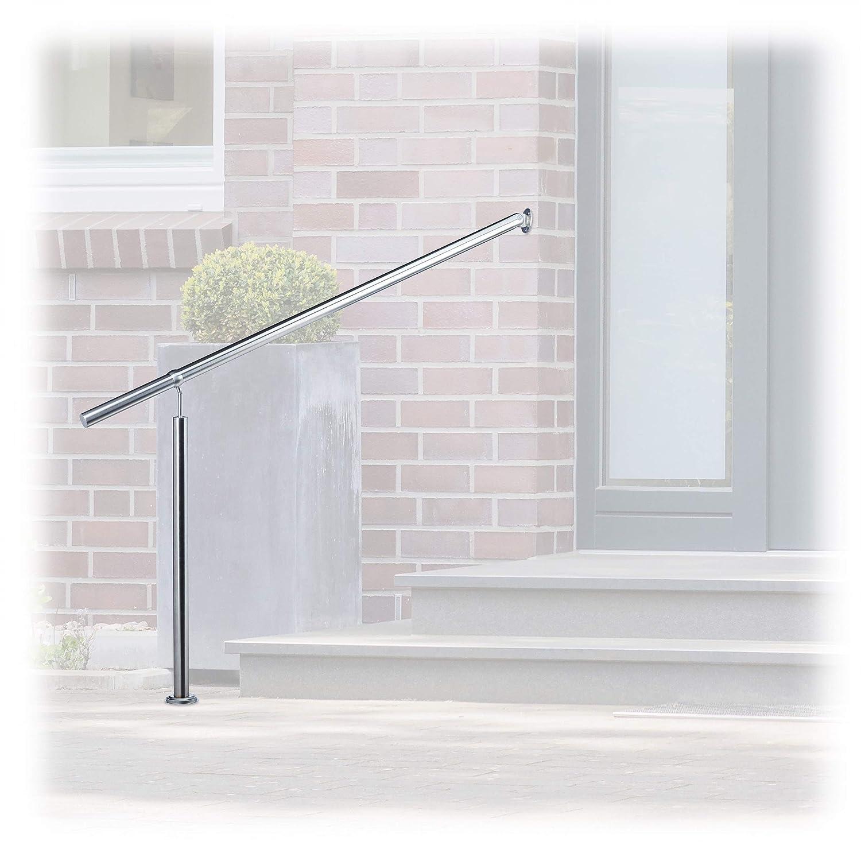Relaxdays Treppengeländer Edelstahl, für Drinnen und Draußen, 80 x 90 cm, mit Wandhaltern+Metalldübeln, Silber 10022622_796