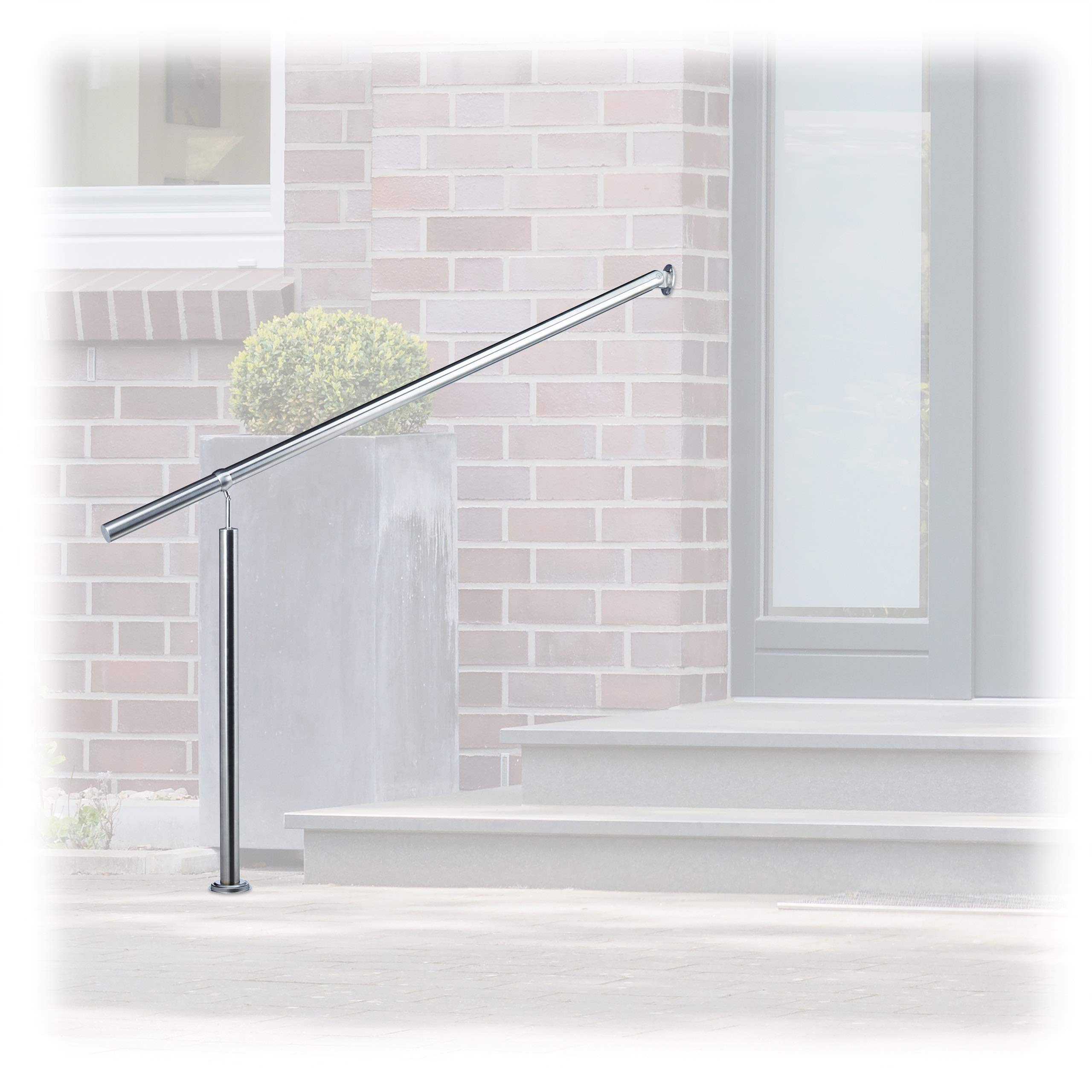 Relaxdays Stainless Steel Handrail for in-and Outdoor Use, with Wall Fittings and Metal Plugs, Silver, 150 x 80 cm by Relaxdays
