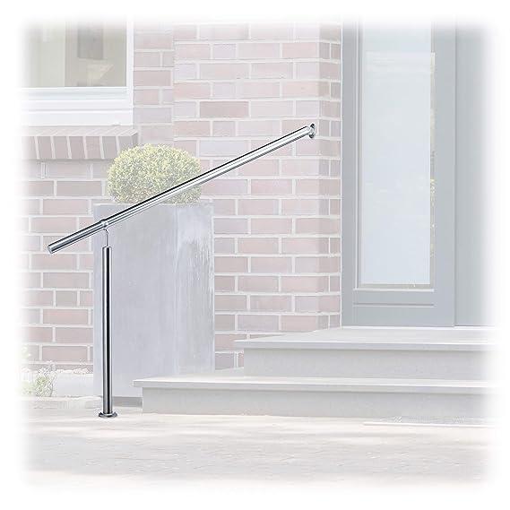 Relaxdays – Barandilla de Acero Inoxidable para escaleras, para Interior y Exterior, 80 x 90 cm, con Soportes para Pared y Tacos de Metal, Plata
