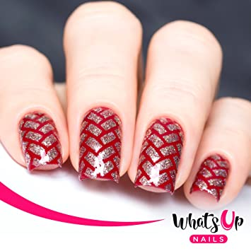Amazon Whats Up Nails Herringbone Nail Vinyl Stencils For